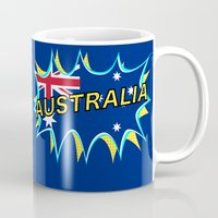 australia Mugs featuring Australia by mailboxdisco
