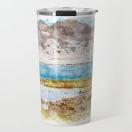 Aquarelle sketch art. Landscape with mountain and water in Andalusia, Almeria, Spain Travel Mug