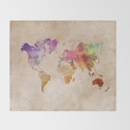 World Map Watercolor Throw Blanket