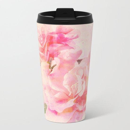 douces fleurs roses Metal Travel Mug