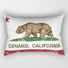 Oxnard California Republic Flag Distressed Rectangular Pillow