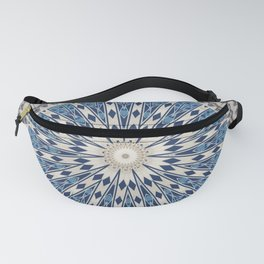 Bright Blue Marble Mandala Design Fanny Pack