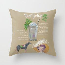 Mint Julep Recipe Throw Pillow
