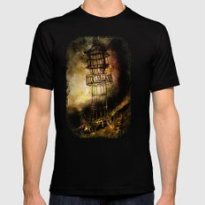 Lonely Lighthouse Black MEDIUM Mens Fitted Tee