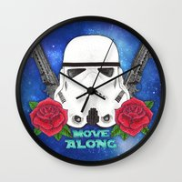 stormtrooper Wall Clocks featuring Stormtrooper by Larissa