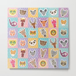 funny animals muzzle pattern with pink lilac blue orange square Metal Print