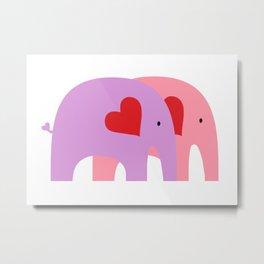 Purple and Pink Elephant Love Metal Print