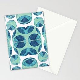 Circle web of connectiveness pattern in mint & navy Stationery Cards