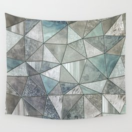 Teal And Grey Triangles Stained Glass Style Wall Tapestry