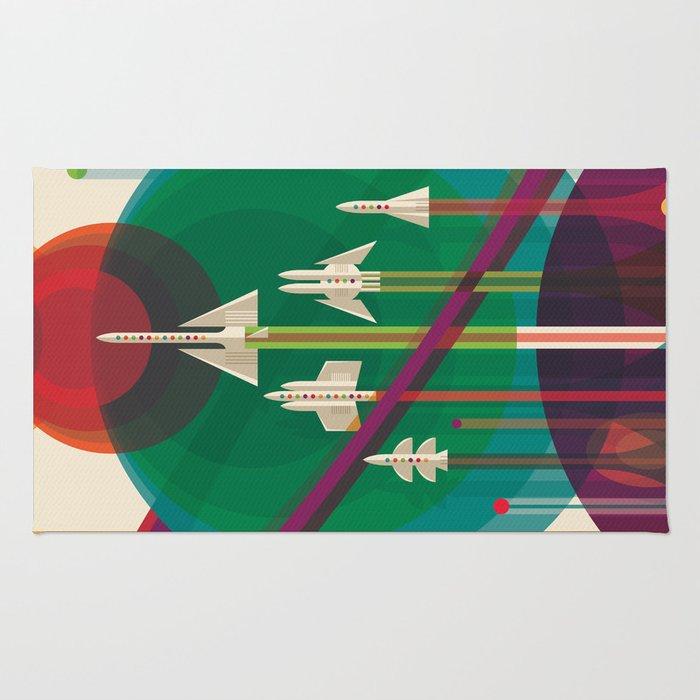 NASA Retro Space Travel Poster #5 Rug