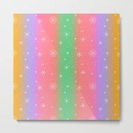 Pastel Rainbow with Snowflakes Metal Print