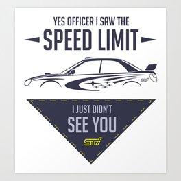 STI speed limit Art Print