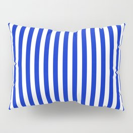 Cobalt Blue and White Vertical Deck Chair Stripe Pillow Sham