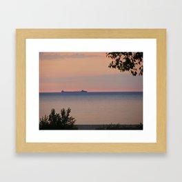 Sunset and Ore Freighter Framed Art Print