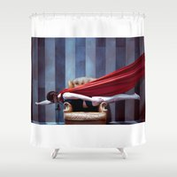 hero Shower Curtains featuring HERO by Bárbara Traver