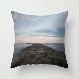 The Jetty at Sunset - Vertical Throw Pillow