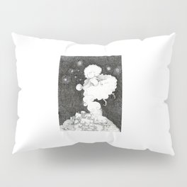 A night witch puts a city to sleep thanks to sleep powder  | DUST | Drawing for the Inktober challen Pillow Sham