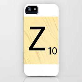 Scrabble Z Initial - Large Scrabble Tile Letter iPhone Case