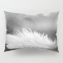 White Feather In Black And White Bokeh Background #decor #society6 #buyart Pillow Sham