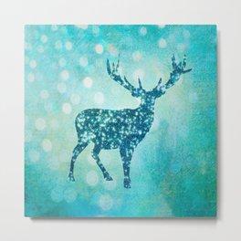 Aqua Turquoise Animal with Glitter Effect -Blue deer Metal Print