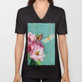 Verdigris Pink Magnolias Unisex V-Neck