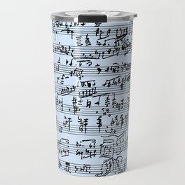 Hand Written Sheet Music // Light Blue Travel Mug