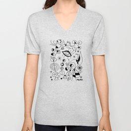 Joan Miro Peces De Colores (Colorful Fish) T Shirt, Artwork Reproduction Unisex V-Neck