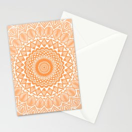Orange Tangerine Mandala Detailed Textured Minimal Minimalistic Stationery Cards