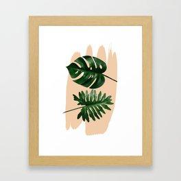 Green leaf on pastel color #society6 Framed Art Print