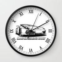 lamborghini Wall Clocks featuring Lamborghini line drawing by JT Digital Art