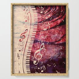 Illustration of a piano keys with musical notes and red rose Serving Tray