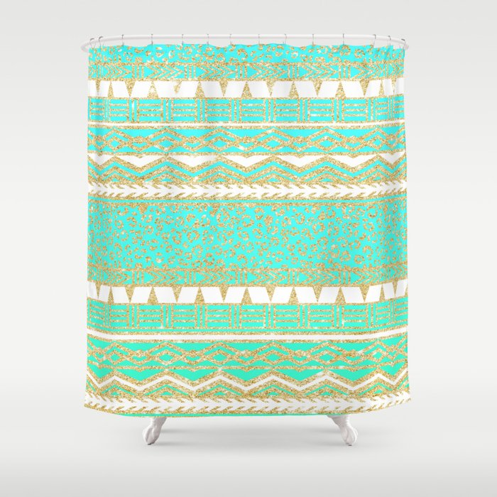 Modern Gold Turquoise Teal Ombre Aztec Pattern Shower Curtain