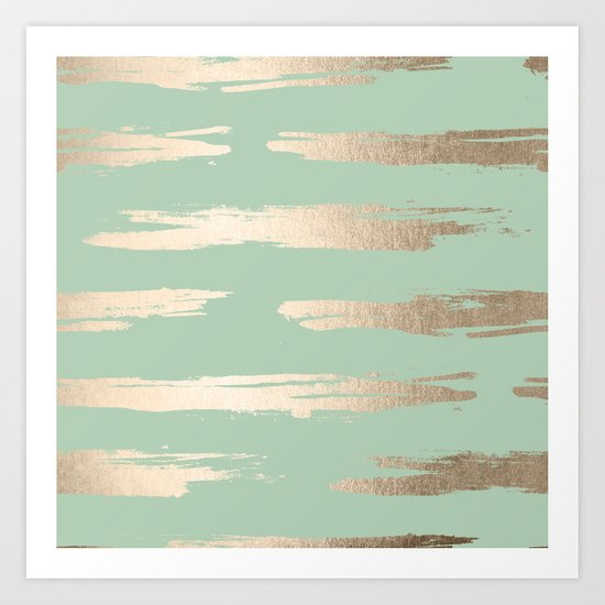 Simply Brushed Stripe White Gold Sands on Pastel Cactus Green Art Print