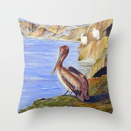 Pelican And Snowy Egrets On A Jetty Throw Pillow
