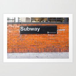 subway sign on a brick wall Art Print