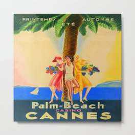 Palm Beach in Cannes, France Vintage Travel Metal Print