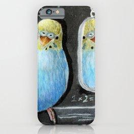 Parakeet Reflection on Chalkboard iPhone Case