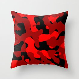 Black and Red Camo abstract Throw Pillow