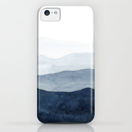 Indigo Abstract Watercolor Mountains iPhone Case