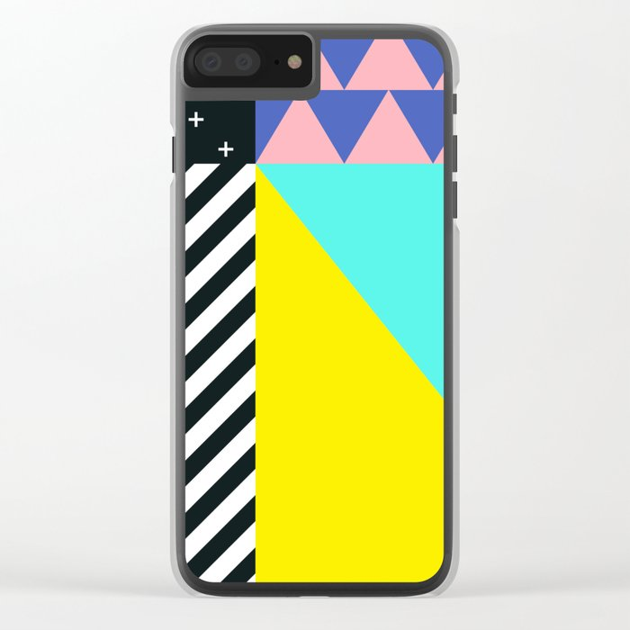 Memphis pattern 90 Clear iPhone Case