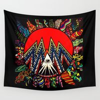 illuminati Wall Tapestries featuring Illuminati Abstract Sun  by Instincts