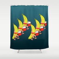 drums Shower Curtains featuring Banana Marching Band by mailboxdisco