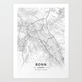 Bonn, Germany - Light Map Art Print