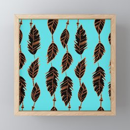 Southwestern bohemian aqua blue turquoise orange black feather pattern Framed Mini Art Print