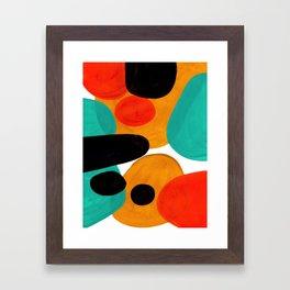 Mid Century Modern Abstract Minimalist Retro Vintage Style Rolie Polie Olie Bubbles Teal Orange Framed Art Print