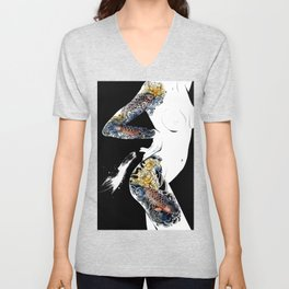 Traditional japanese body koi tattoo, Black and white illustration, Nude art, Naked beauty body Unisex V-Neck