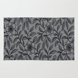 Vintage Lace Floral Sharkskin Rug