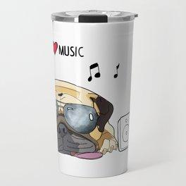 I love music-rock pug Travel Mug
