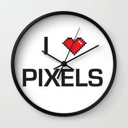 I heart Pixels Wall Clock
