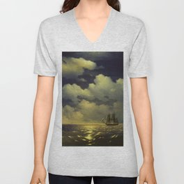 """Brig """"Mercury"""" Attacked by Two Turkish Ships Masterpiece by Ivan Aivazovsky Unisex V-Neck"""